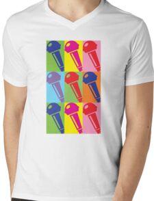 Pop Art Microphone Mens V-Neck T-Shirt