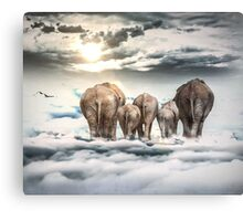 Elephants and Babys Canvas Print