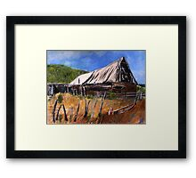 Old Barn New Mexico Desert Contemporary Acrylic Painting Framed Print