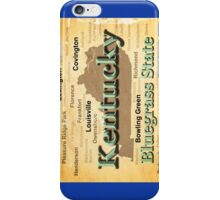 Aged Kentucky State Pride Map Silhouette  iPhone Case/Skin