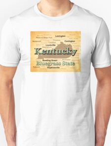 Aged Kentucky State Pride Map Silhouette  T-Shirt