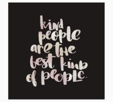 Kind people are the best kind of people.cool text,typography,water color,hand painted on black background,modern One Piece - Long Sleeve