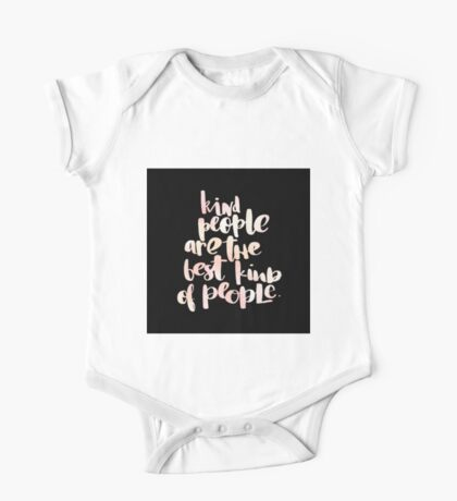 Kind people are the best kind of people.cool text,typography,water color,hand painted on black background,modern One Piece - Short Sleeve
