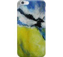 Wild English Garden Bird Blue Tit Contemporary Acrylic Painting iPhone Case/Skin