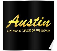 Austin live music gold Poster