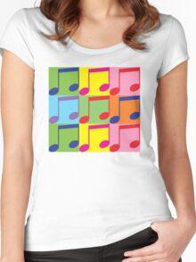Pop Art Music Notes Women's Fitted Scoop T-Shirt