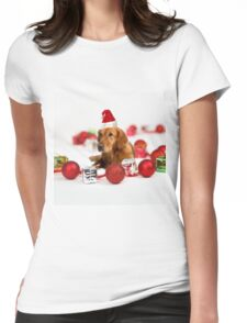 Golden Retriever Dog W Red Santa Hat Christmas Womens Fitted T-Shirt