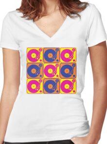 Vinyl Record Turntable Pop Art 3 Women's Fitted V-Neck T-Shirt