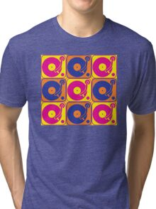 Vinyl Record Turntable Pop Art 3 Tri-blend T-Shirt