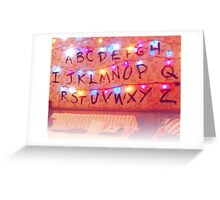 STRANGER THINGS ALPHABET LIGHTS Greeting Card