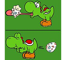 Yoshi swallows Togepi Photographic Print