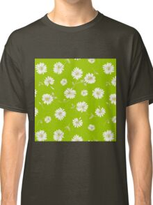 Spoon flower,flowers,floral,lime,white,green,yellow,modern,trendy,pattern Classic T-Shirt