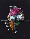 """Jewel""  Amethyst-Throated mixed media painting by Rebecca Rees"