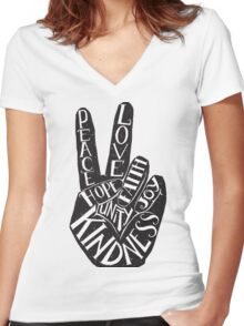 Peace Sign with words Peace, Love, Faith, Joy, Hope, Kindness, Unity Women's Fitted V-Neck T-Shirt