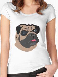 Cute Pug Dog Face Cartoon  Women's Fitted Scoop T-Shirt