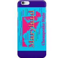 Colorful Maryland State Pride Map Silhouette  iPhone Case/Skin