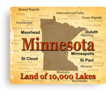 Aged Minnesota State Pride Map Canvas Print
