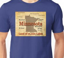 Aged Minnesota State Pride Map Unisex T-Shirt
