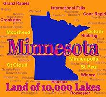 Colorful Minnesota State Pride Map by KWJphotoart