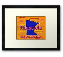 Colorful Minnesota State Pride Map Framed Print