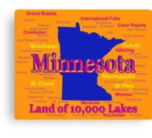 Colorful Minnesota State Pride Map Canvas Print