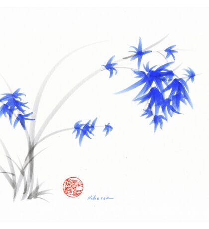 """Soft Flowers"" Sumie watercolor painting   Sticker"
