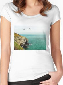 Sea birds soaring high. Women's Fitted Scoop T-Shirt