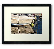 Misty Blue At Lyme Regis Harbour Framed Print