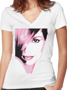 Cindy Crawford vector drawing Women's Fitted V-Neck T-Shirt