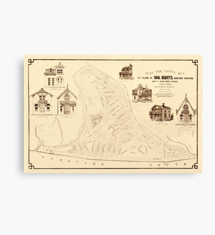 Map Of Marthas Vineyard 1866 Canvas Print