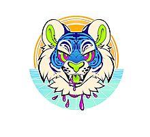 Tiger Vaporwave Photographic Print