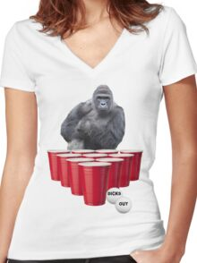 Harambe Beer Pong Women's Fitted V-Neck T-Shirt