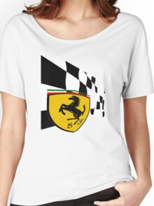 FERRARI WITH FLAG Women's Relaxed Fit T-Shirt