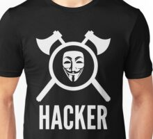 Hacker with crossed axes, shield and Guy Fawkes mask Unisex T-Shirt
