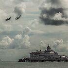 Lancaster bombers over the pier  by yampy
