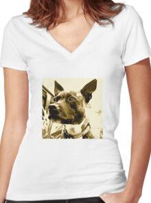 Staffie Women's Fitted V-Neck T-Shirt