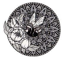 Bumble Bee Mandala Photographic Print