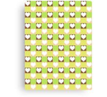 Pink, Brown, Green & Yellow Tiled Hearts Canvas Print