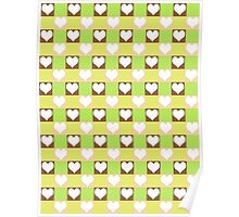 Pink, Brown, Green & Yellow Tiled Hearts Poster