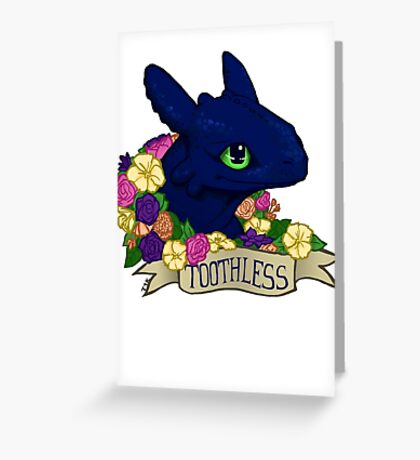 Flower Toothless Greeting Card