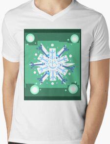 Snowflake Sunburst Mens V-Neck T-Shirt
