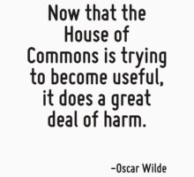 Now that the House of Commons is trying to become useful, it does a great deal of harm. by quote