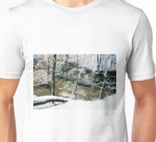 Rushing River on a Snowy Day Unisex T-Shirt