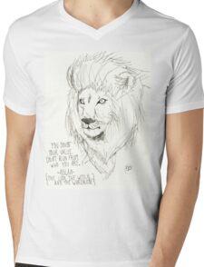 Aslan Original Pencil Art Mens V-Neck T-Shirt