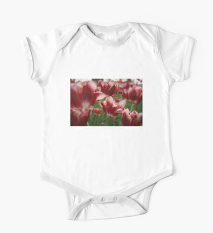 Red & White Tulips One Piece - Short Sleeve