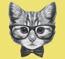 Cat with glasses and bow tie One Piece - Short Sleeve