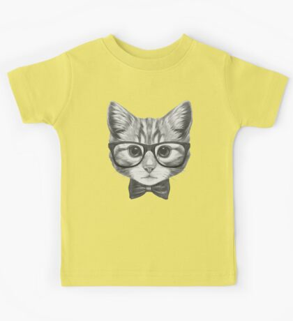 Cat with glasses and bow tie Kids Tee