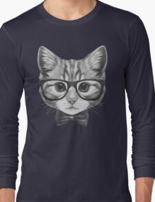 Cat with glasses and bow tie Long Sleeve T-Shirt