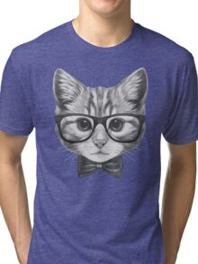 Cat with glasses and bow tie Tri-blend T-Shirt