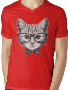 Cat with glasses and bow tie Mens V-Neck T-Shirt